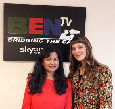Anna-Christina with Dawattie Basdeo at BEN TV Studios after filming a live interview on the Ben Breakfast Show