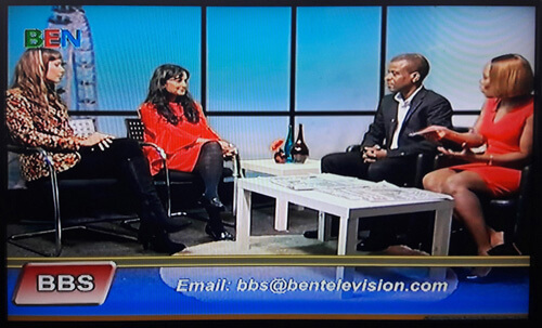 Anna-Christina with Dawattie Basdeo at BEN TV Studios filming a live interview on the Ben Breakfast Show