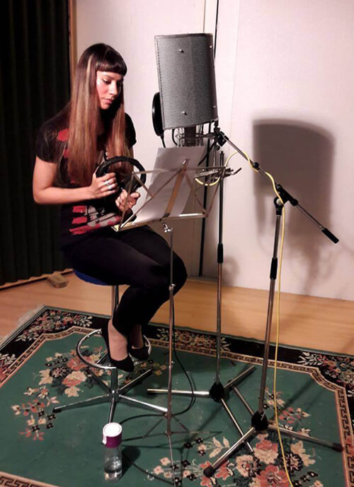 Anna-Christina recording narration at Unit 2 Studios, London