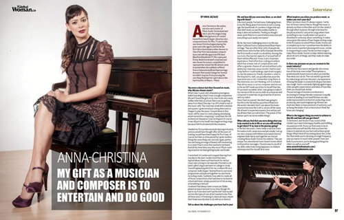 Global Woman Magazine interview with Anna-Christina