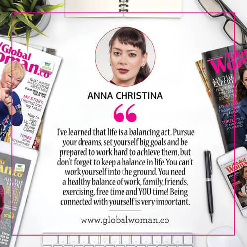 Anna-Christina - Global Woman Magazine quote